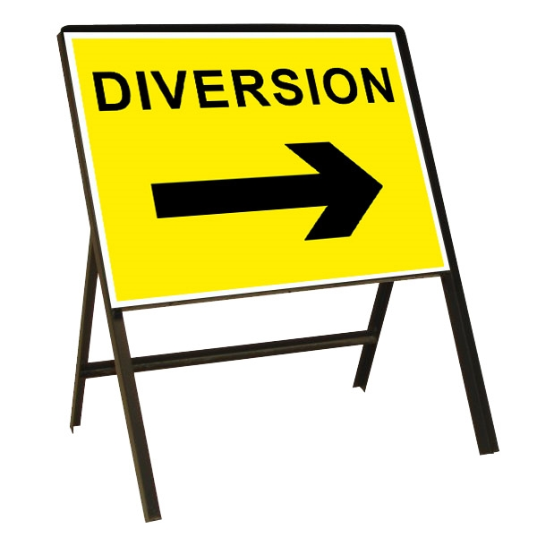 Diversion Right Arrow Metal Sign (1050mm x 750mm)
