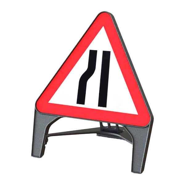 Road Narrows Left Q Sign