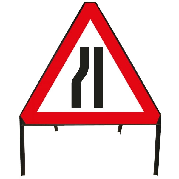 Road Narrows Left Metal Sign