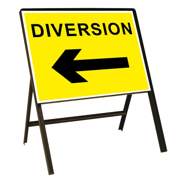 Diversion Left Arrow Metal Sign (1050mm x 750mm)