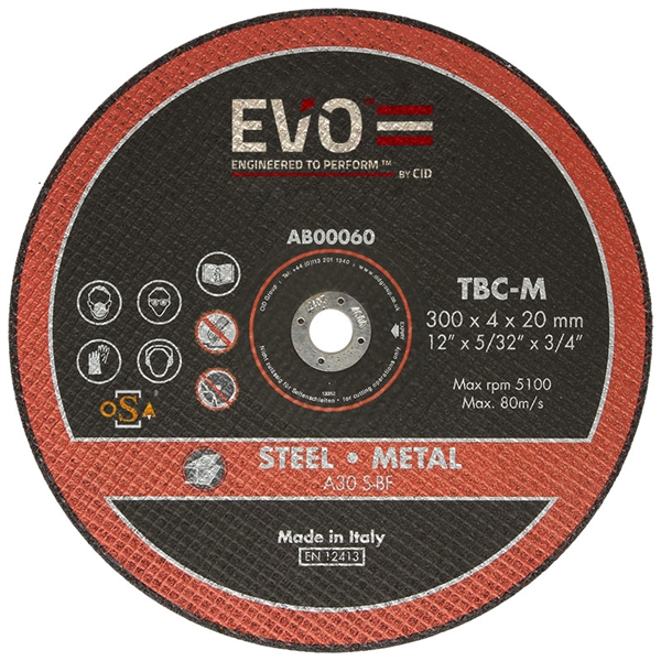 The TBC-M is a metal cutting abrasive blade, which cuts all types of metal.