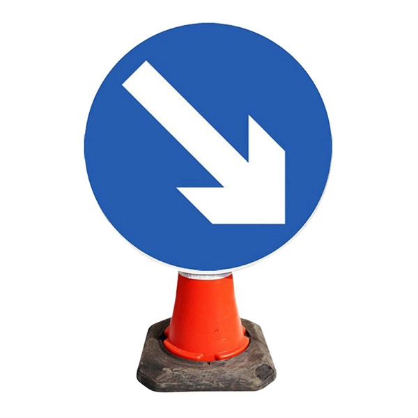 Blue Arrow Right Cone Sign