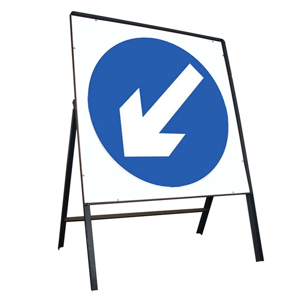 Blue Arrow Left Metal Sign
